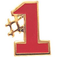 #1 Gold and Red Lapel or Hat Pin