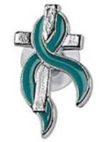 Teal Ribbon on Silver Cross Pin -  Pack of 12