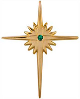 Gold Christmas Bethlehem Cross Pins - CZ Stone