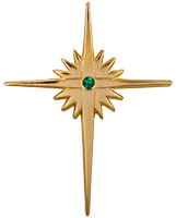Gold Bethlehem Cross with CZ Stone Pin