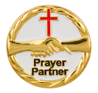 Prayer Partner Handshaking Pin W/ Cross Gold