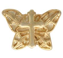 Gold Cross on Filigree Butterfly Pin