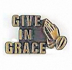 Give in Grace Pin With Praying Hands
