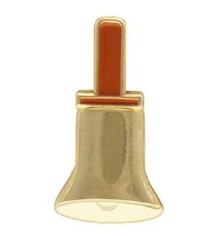 Hand Bell Pin Flat Gold