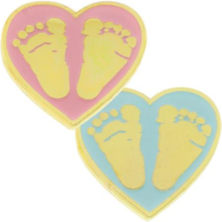 Pink, Blue Baby Feet in Heart Pin, Gold