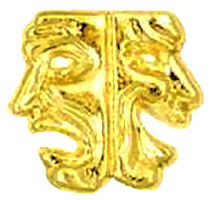 Theater Drama Mask Pin Gold