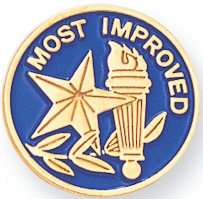 Most Improved Award Pin With Torch