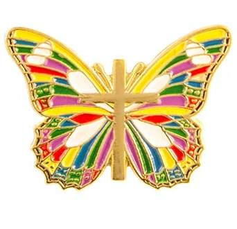 Butterfly Pin With Cross Multicolor Christian Pin