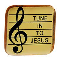 Tune in to Jesus Music Pin Gold