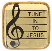 Tune in to Jesus Pin Gold