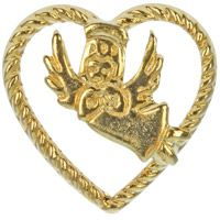 gold heart with guardian angel pin