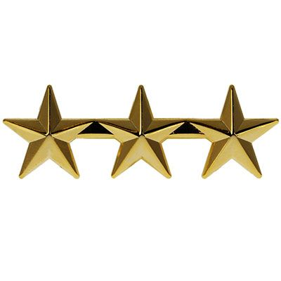 3 star Police or Military Gold Star Pin