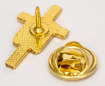 Gold Cross with White Stole Pin