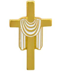 Gold Cross with White Stole Easter Pin