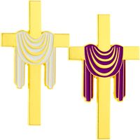 Stole Draped Gold Cross Easter Pin - Large