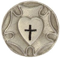 Lutheran Rose Heart Pin Pewter