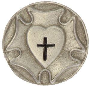 Lutheran Rose Heart Pin