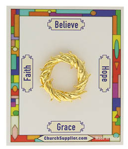 Jesus Crown of Thorns Pin Gold on Card