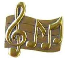 Music Staff and Notes Pin Gold