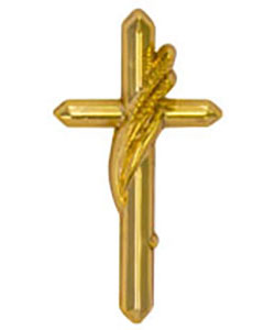 Gold Cross with Harvest Wheat Pin