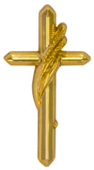 357 Gold Cross with Wheat Lapel Pin