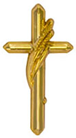 Gold Cross with Wheat Pin