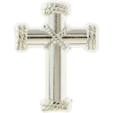 Silver Cross Rope Center Lapel Pin
