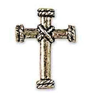 Silver Cross Rope Center Lapel Pin