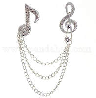 Music Rhinestones Brooch Pins with Chains
