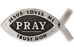 Pray, Jesus Loves Me Fish Pin -  (Pkg of 12)