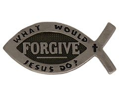 WWJD Jesus Forgive Fish Pins