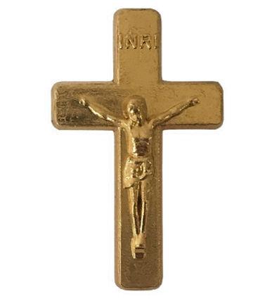 Gold Crucifix Cross Pins 3/4 inch (Pkg of 25)
