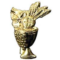 Holy Communion Bread & Chalice Pin Gold Plated