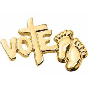 Vote Pro-Life Baby's Feet Pin Gold