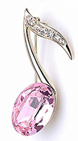8th Note Music Lapel Pin with Pink Stone