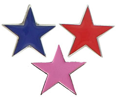 Red, Blue or Pink Star Lapel Pins