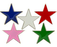 Red, Blue Green or Pink Stars Lapel Pins