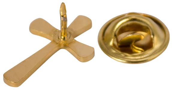 Flared Gold or Silver Cross Lapel Pins