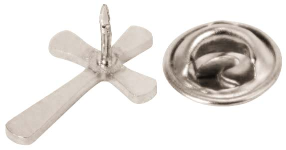 Flared Christian Cross Pin (Silver or Gold)