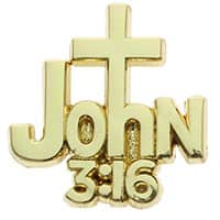John 3:16 With Cross Lapel Pin Gold