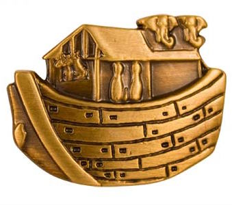 Noah's Ark Antique Gold Plated Pin