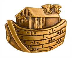 Noah's Ark Antique Gold Pin