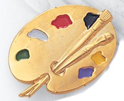 Artist Paint Palette Pin  Multi-Colored