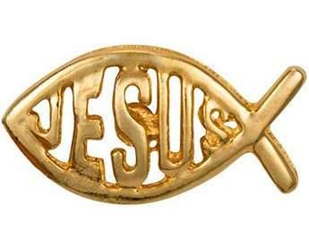 Jesus Fish Pin Gold IXOYE