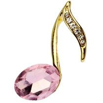 Gold 8th Note Music Lapel Pin with Pink Stone