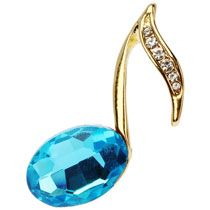 Note Music Lapel Pin with Blue Stone