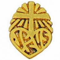 Jesus Pin with Cross Heart Gold Plated