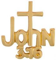 John 3:16 With Cross Pin Gold
