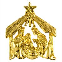 Christmas Manger Nativity Gold Pin
