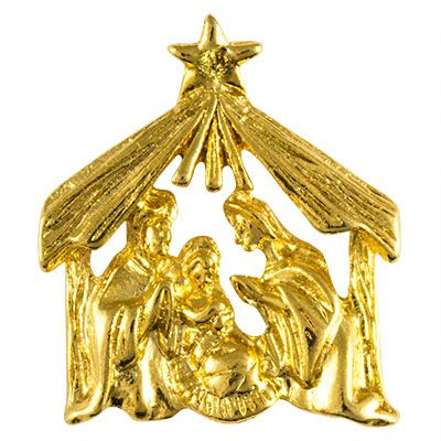 Christmas Manger Nativity Gold Pin